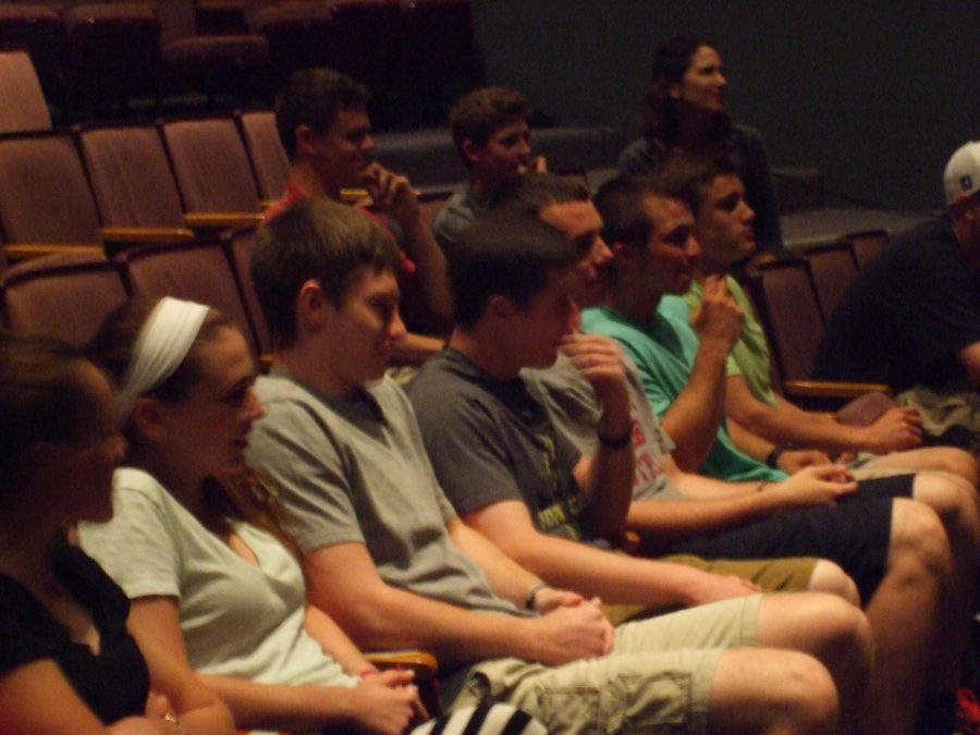 From the left Molly Emerson, Sarah Farrelly, Jacob Sculz, Rob Law, Will Scharlotte, and Thomas Bengston watch another Spanich Lip Sync group practice during rehearsals.