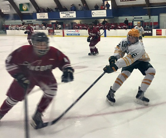 CHS hockey player hustles to reach the puck while a Brady player puts out his hockey stick in attempts to stop him.
