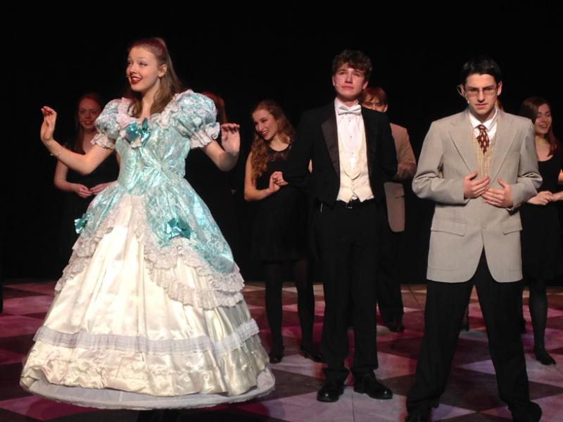 Katharine Demers, Daniel Desmond, and Jagger Reep perform a number from the Drowsy Chaperone