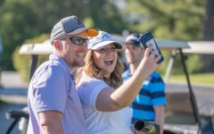 Jonathan Stallsmith and Erika Mattson, Class of 12, catch up at the very first tournament in 2019.